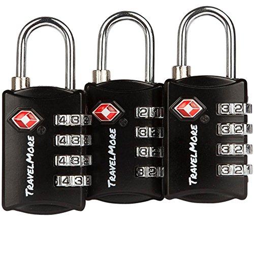 3er-Pack TSA-Gepäckschlösser mit 4-stelliger Zahlenkombination – Hochleistungs-Set – Ihre eigenen Vorhängeschlösser für Reise, Gepäck, Koffer & Rucksack – Schwarz