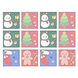 Hakka 雪だるまクリスマスツリージンジャーブレッドパターン付き12個の自己貼り付けメモ付箋メモパッドポップアップタブメモ帳ページマーカークリスマスホリデー用(ミックススタイル)