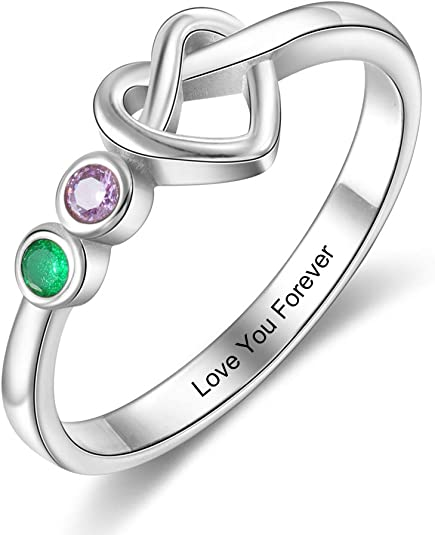 kaululu Personalized 2/3/4 Birthstone Rings for Her Mother Rings with Simulated Birthstones Custom Name Promise Rings for Wife