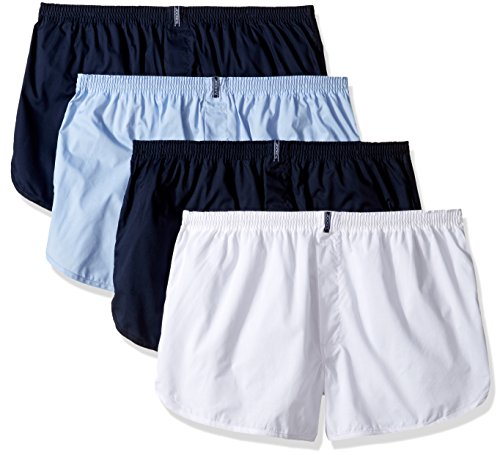 Jockey Men's Underwear Tapered Boxer - 4 Pack, Icy Blue/White/Navy Blue/Icy Blue, L