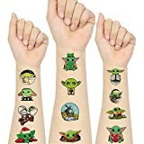 Baby Yoda Temporary Tattoo Birthday Decorations Party Supplies For Kids Star War Theme Birthday Party Yoda Decorations for Kids Girls Boys Party Favor Supplies Kids School Gifts (12 Sheets)·