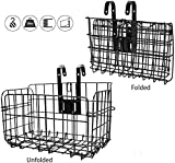Ideal Swan Cestino anteriore pieghevole per bicicletta, cestino posteriore in rete metallica, cestino per manubrio rimovibile, per mountain bike, portabagagli, nero
