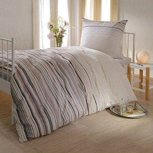 G Bettwarenshop Biber Bettwäsche Streifen beige 1 Bettbezug 240 x 220 cm + 2 Kissenbezüge 80 x 80 cm