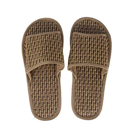 Happyyami Bambus Stroh Hausschuhe Open-Toe Flip Flop Haus Slip-On Bad Spa Sommer Sandale Schuhe Indoor Outdoor Home Spa Hotel 1 Paar (Braun)