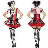 Sexy Dessous 4 Stück Erwachsene Frauen Lustige Harley Quinn Kostüm Clown Zirkus Cosplay Karneval Halloween Kostüm Performance Kleidung-M_A