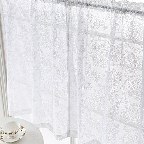 Floral Kitchen Tiers White Café Curtains 24