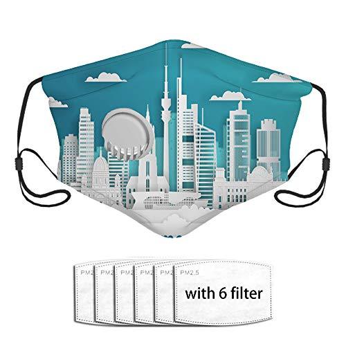 Neoqwez Cover Cut Style Germany White Color cover Stock Cityscape Wi A Face Bandanas Algodn con vlvula de respiracin, con filtro de carbn activado, filtros reemplazables