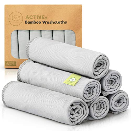 Organic Bamboo Baby Washcloths - 6-Pack Silky Soft Baby Wash Cloths - Baby Towels for Bath - Face Towel - Baby Washcloth for Girls, Boys - Bamboo Washcloths for Face - Baby Bath Towels (French Gray)