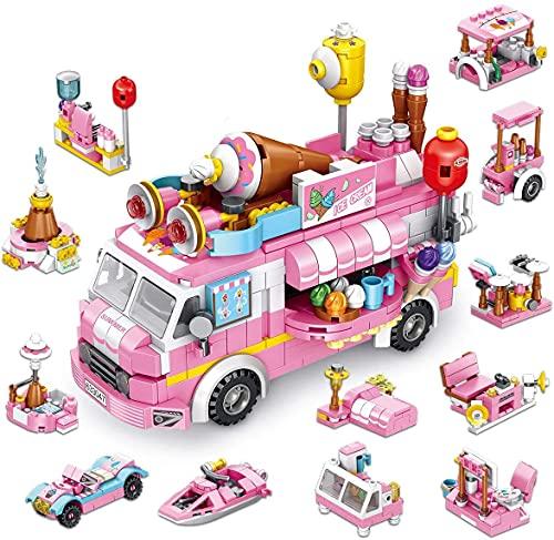 PANLOS 女の子ビルディングセット 553PCS アイスクリームトラックおもちゃ 25モデル食品車建設ビルディングブロックキット 教育玩具 6歳以上の子供向けギフト