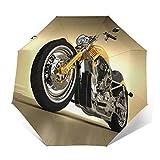 SUHETI Paraguas automático de Apertura/Cierre,Hierro Custom Estética Hobby Moto Espejos Modernos futuristas Montar Tema,Paraguas pequeño Plegable a Prueba de Viento