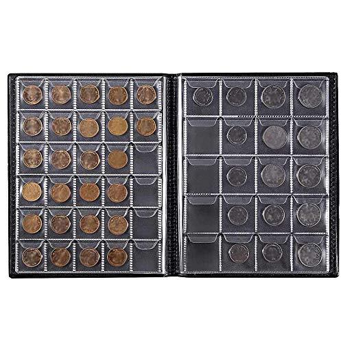 YChoice365 250 Tasche Zio Paolo Collezione di Monete Album Portamonete Libro Nero Portamonete Album Soldi Penny Pocket per Collezionisti
