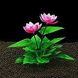 JONJUMP Decoración de tanque de peces Lotus Herradura Artesanía Regalo Flor de Seda Simulación de Plástico Falso Hierba de Agua Accesorios de Acuario