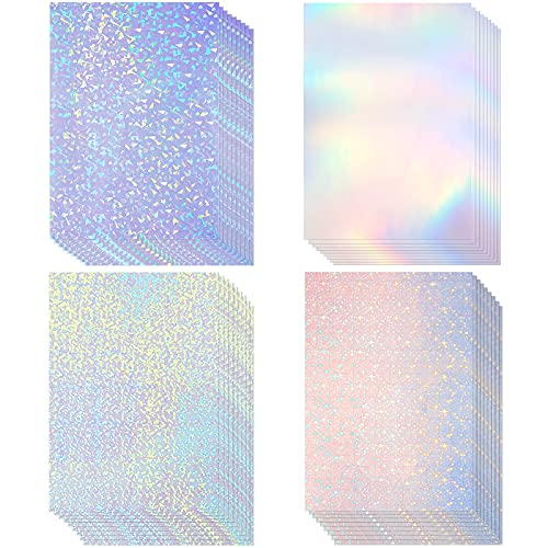 36 Hojas de Papel Adhesivo Holográfico Vinilo Transparente A4 Película Impermeable con Patrón Estrella Arcoíris Punto Gema, 11,7 x 8,3 Pulgadas (Gema, Punto, Colorido, Estrella)