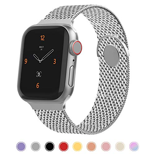 iGK Compatible for Watch Band 38mm 40mm 42mm 44mm, Stainless Steel Mesh Loop Band Adjustable Magnetic Replacement Wristband Compatible with Watch Series 5 4 3 2 1 Silver Small