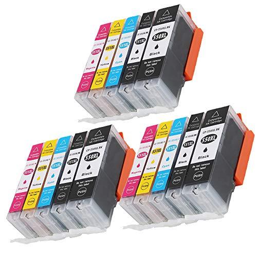 Caidi 15 550XL 551XL - Cartuchos de tinta compatibles con Canon Pixma MX925 iP7200 iP7250 MG5650 MG7550 MG6350 MG6650 MX725 MX920 MG6450 MG5550