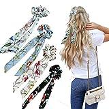 WELROG Bufandas scrunchies - 4PCS Peinados Bowknot Para Mujeres cabello Bobbles cola de caballo para niñas (Negro/Blanco/Azul/Azul Claro)