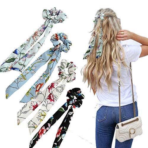 WELROG 4 Stücke Frauen Haar Haargummis Haar Krawatten Kopfverpackung Gummibänder Haar Zubehör (Schwarz/Weiß/Hellblau/Himmelblau)