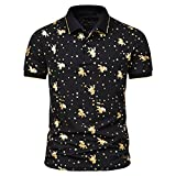 SSBZYES Camiseta para Hombre Polo para Hombre Camiseta de Manga Corta de Verano para Hombre Camiseta de Solapa de Manga Corta con Estampado Dorado a la Moda para Hombre