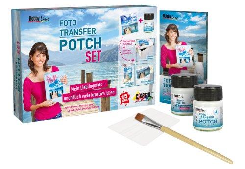 Kreul 49960 - Foto Transfer Potch Set, mit Potch, Überzugslack, Pinsel & Rakel, zum Übertragen von Ausdrucken, Zeitungsausschnitten & Zeitschriftenbildern auf verschiedene Untergründe