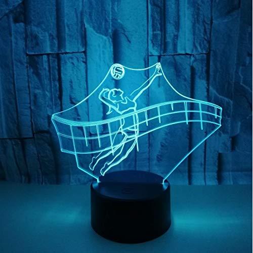 3D Lámpara lampara de ilusion óptica Figuras deportivas jugando voleibol. de Mesa Luz iluminación 7 Colores de Control Remoto con Acrílico Plano & ABS