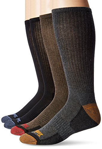 Timberland Men's 4 Pack Outdoor Leisure Crew Assorted Colors, Black/Blue/Brown/Charcoal, 10-13/9-12
