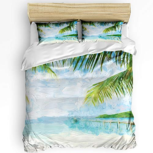 Chic Decor Home 3 Piece Bedding Sets Tropical Beach Watercolor Duvet Quilt Cover Set for Childrens/Kids/Teens/Adults Palm Trees 1 Quilt Cover with 2 Pillow Case, Full