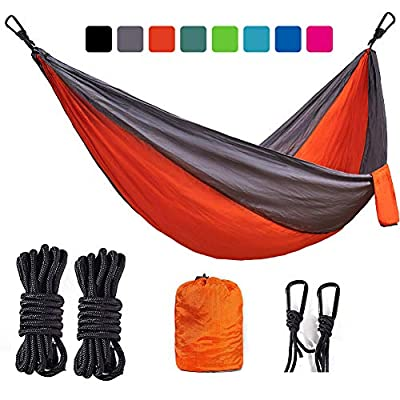 BEMAIN Camping Hammock Outdoor Lightweight Double & Single Portable Nylon Parachute Hammocks for Hiking Travel Beach Yard Gear Includes Straps and Steel Carabiners(Orange/Light Grey, Twin)