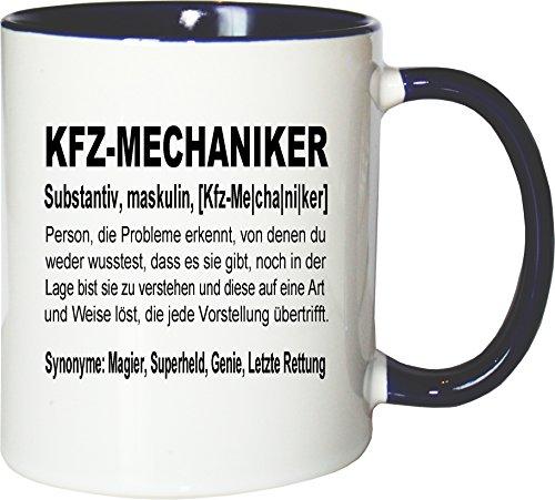 Mister Merchandise Kaffeebecher Tasse Kfz-Mechaniker Definition Geschenk Gag Job Beruf Arbeit Witzig Spruch Teetasse Becher Weiß-Blau
