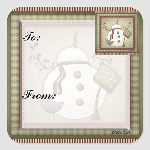 Square Sticker Labels - Snowmen Christmas Gift Tag Sticker 2 x 2 Inch Office Label Sticker Vinyl Stickers Labels for Business, Weddings, Birthday Parties, Gifts, Set of 30