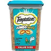 TEMPTATIONS Jumbo Stuff Crunchy and Soft Cat Treats, Tempting Tuna Flavor, 14 oz. Tub