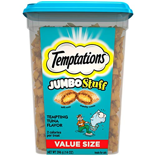 Temptations Jumbo Stuff Cat Treats, Tempting Tuna Flavor, 14 oz Tub