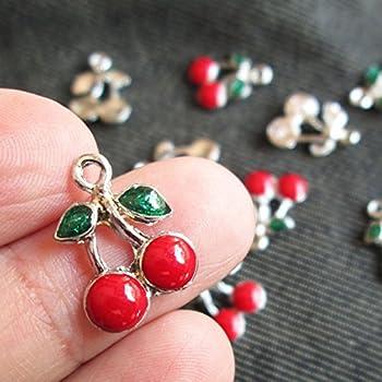 100pcs Alloy Enamel Strawberry Pendants Smooth Metal Cute Fruit Charms 20x10mm