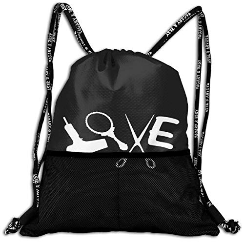 Sac à Cordon pour Hommes/Femmes - Love Hair Stylist Fashion Lightweight Sackpack Casual Bundle Backpack for Sports, Travel, Gym, Training, Yoga