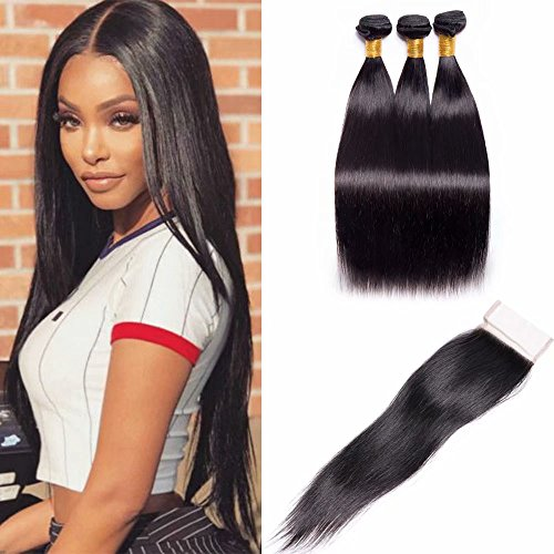Maxine Hair Brazilian Straight Hair 3 Bundles with Closure 8A Unprocessed Brazilian Virgin Hair with Free Part Closure for Black Women Natural Color(10 12 14 with 10 closure)