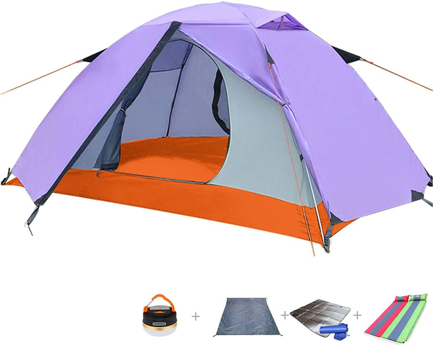 Outdoor Tent, Double (Tent + Lamp + Mat + Air Cushion) Rain and Mosquito Proof Breathable