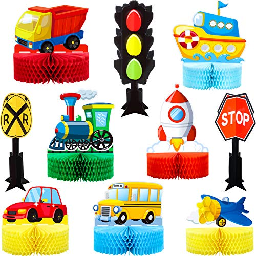10 Pieces Transportation Centerpiece Boat Airplane Car Honeycomb Centerpiece Traffic Lights Traffic Signs Transportation Theme Party Supplies Transportation Party Decoration for Birthday Baby Shower
