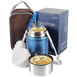 Buluri Termo para Comida 750 ml- Fiambrera Portátil Termo de Acero Inoxidable para Alimentos con Cuchara Plegable, Adecuada para Adultos, Niños y Bebés (Azul)