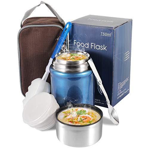 Boîtes Alimentaires Isothermes, Thermos étanche 750ML avec Cuillère Pliante en Acier Inoxydable, Contenant de Nourriture pour l'école, le Bureau et le Camping (Bleu)
