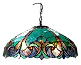Chloe Lighting CH18780VG18-DH2 Liaison Tiffany-Style Victorian 2-Light Ceiling Pendent with Shade, 8.5 x 18 x 18', Bronze