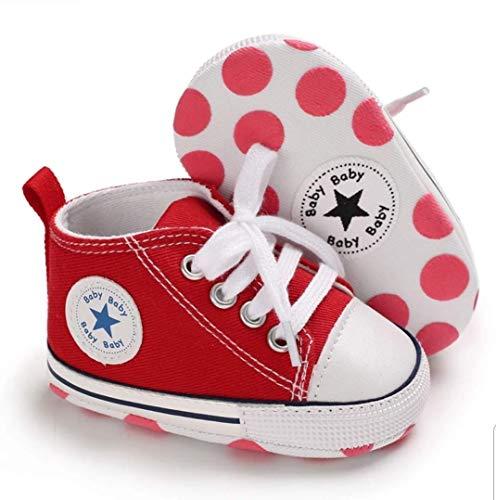 Zapatillas de Lona Estilo Urbano con Suela Blanda Antideslizante Primeros Pasos para Bebés de 6 a 18 Meses (12 cm Suela)
