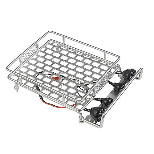 KKmoon Rack de bagageiro de tejadilho com barra de luz para 1/10 Monster Truck RC Crawler de carro axial SCX10 90046 D90 TRX-4