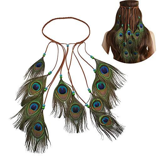 Jurxy Böhmische Pfau Feder Kopfschmuck Stirnband Damen Hippie Boho Indianer Stirnbänder Zigeuner Headwear Weben Frau Mädchen Lieblings Haarschmuck – Pfau