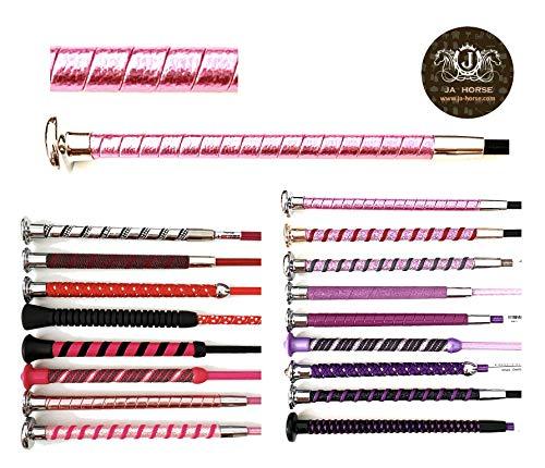 JA Horse - Dressurgerte Gerte Reitgerte Rot Rosa Pink Lila Silber (110 cm, 24 Metallic Schlangenhaut rosa)
