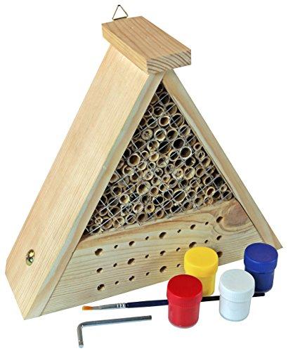 Windhager Insektenhotel Bausatz BEE, Bienenhotel Bienenhaus Insektenhaus Brutkasten, inklusive Farbset zum Bemalen, 06944