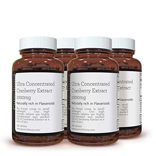 ESTRATTO DI MIRTILLO ULTRA CONCENTRATO 1000 mg x 720 COMPRESSE (4 flaconi da 180 compresse - 2 ANNO DI FORNITURA!) SKU: CRAN3x4