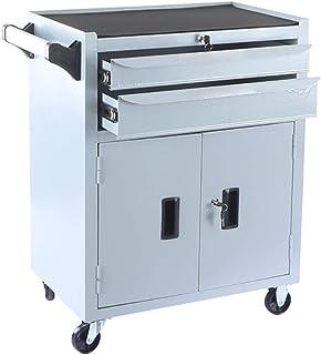 Fanuosuwr Chariot à Outils de Grande Capacité Outil de laminage d'acier Boîte 2 tiroirs verrouillables et Armoire de Range...
