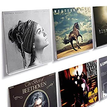 NIUBEE Clear Vinyl Record Shelf Wall Mount 6 Pack,Acrylic Album Record Holder Display Your Daily LP Listening in Office Home