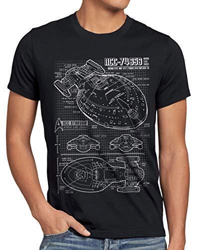 style3 NCC-74656 Cianotipo Camiseta para Hombre T-Shirt Fotocalco Azul Voyager, Talla:2XL, Color:Negro
