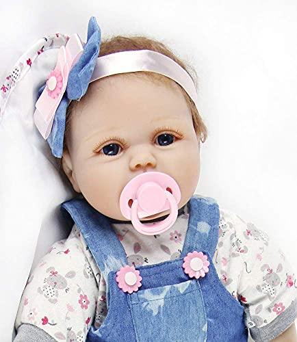 ZIYIUI 22inch 55cm Bambola Reborn Femmina Silicone Bambole realistica Baby Dolls Maschio bambolotti Che sembrano Veri Neonato bambile Toddler Occhi Aperti