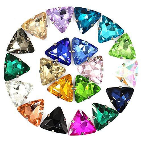 Ototon Strass Triangolo Gemma in Vetro con Fori Strass da Cucire Colorati Accessori per Abbigliamento Gioielli DIY 50pcs